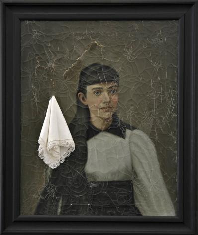 JOHN KIRCHNER Caro Senorita 2008, framed oil on canvas and linen handkerchief, 32 x 27 inches.