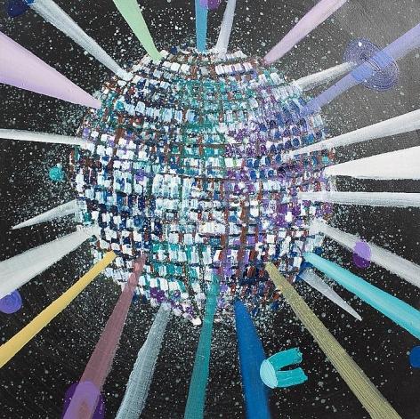 PHILIP HINGE Mirror Ball 2013, acrylic on canvas, 30 x 30 inches