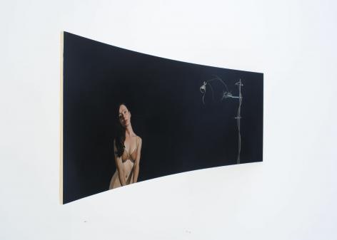 ERIK THOR SANDBERG Reception 2011, oil on curved panel, 38 x 88 x 35.5 inches