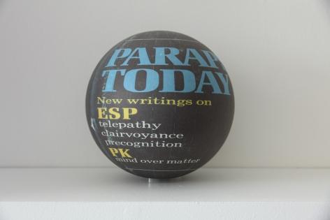 Susan MacWilliam  Parapsychology Today  2013-14, inkjet paper, plastic sphere, 6 x 6 x 6 inches, unique.