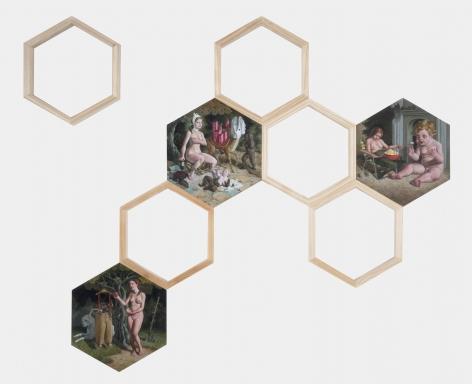 ERIK THOR SANDBERG  Circuitous  2017, oil on wood panel, 42 x 48 inches.