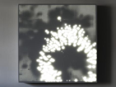vLEO VILLAREAL Primordial 2009, 3600 light emitting diodes, Mac mini, circuitry and plexi glas, 64 x 64 x 5 inches
