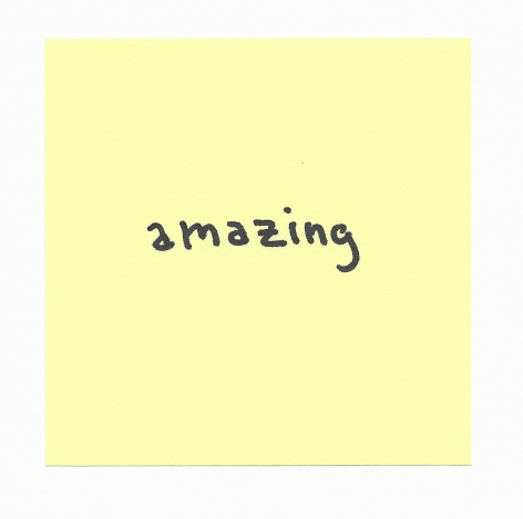 JOE OVELMAN  Post-it Series X (amazing)  ink on paper, 3 x 3 inches.