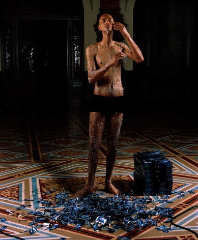 WILMER WILSON IV Portrait with Hydrogen Peroxide Strips Performance: National Portrait Gallery, Washington, DC, 2016