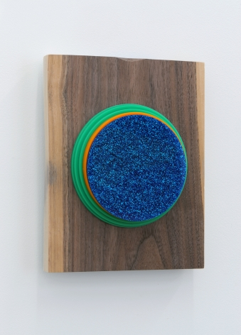 Joe Ovelman Blue Sparkle Sphere wood, plastic, reclaimed leather, 10 x 8 x 2 inches