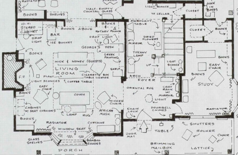 MARK BENNETT Home of George & Martha (Who's Afraid of Virginia Woolf) (detail) 2007, India ink and graphite on vellum, 30 x 42 inches.