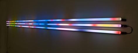 LEO VILLAREAL Horizon 2 2008, light emitting diodes, mac mini, circuitry and plexiglass tubes, 18 x 288 x 7 inches.