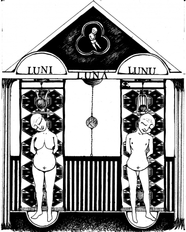 CHRISTINA MOST Tomb: Luna's Deceased Parents 2007, ink on paper, 13.5 x 11 inches.