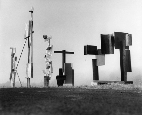 David Smith - March Sentinel, Two Box Structure, Two Circle Sentinel, Zig II, Zig III, 1961    Paris Photo 2019   Bruce Silverstein Gallery