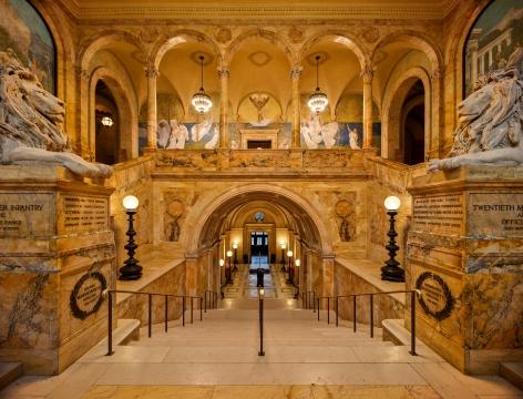 Ahmet Ertuğ - Boston Public Library, Grand Staircase, 2020 Chromogenic print ; Bruce Silverstein Gallery