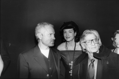 """Bill Cunningham; Gianni Versace and Richard Avedon attending """"Gianni Versace: Signatures"""" at FIT Museum, 1992 Gelatin silver print, printed c. 1992 8 x 10 in. ; Bruce Silverstein Gallery"""