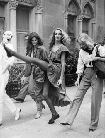 Bill Cunningham; Jerry Hall, New York City, c. 1980s Gelatin silver print, printed c. 1980s 10 x 8 in. ; Bruce Silverstein Gallery