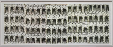 Martin Ramirez -  Untitled (Arches, 5 Panels), 1960-1963  | Art Basel 2020 | Bruce Silverstein Gallery