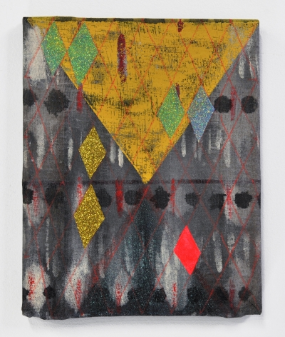 Matt Carter Untitled, 2014 Glitter, acrylic, graphite, linen and wood 8 x 10 in.
