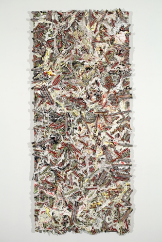 Margie Livingston Multi-colored Pour on Waferboard, 2013 Acrylic paint on Alupanel 63 x 33 x 1.5 in