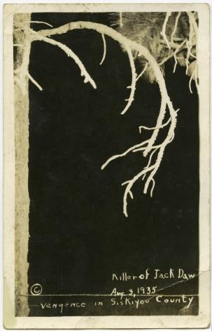 Ken Gonzalez-Day Vengeance in Siskiyou, Lynching of Clyde Johnson, Yreka, CA, 1935 Erased Lynchings Set III, 2006-2019 Archival injet print on rag paper mounted on cardstock 6 x 4.5 in.