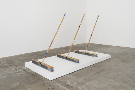 Josh Reames Broom, 2017 Push-brooms and scaled bumper stickers  57 x 36 x 32 in (each)