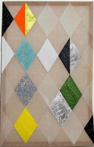 Matthew Carter zzzaaakkk, 2013 Acrylic, glitter, gold and silver leaf on raw linen 49 x 31 in.