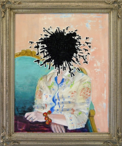 Miyoshi Barosh Paintings for the Home (Portrait),2010 Oil on canvas, embroidered canvas, frame 35 x 29 in.