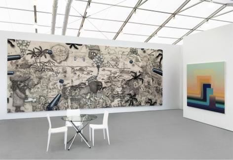 Installation view of Luis De Jesus Los Angeles at UNTITLED Miami 2016, featuring works by Josh Reames, José Lerma, and Nicolas Grenier.