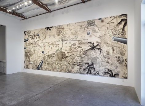 Installation View of Josh Reames and Jose Lerma: He Hath Founded It Upon The Seas Monument To Wilson and Kelling