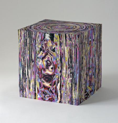 Margie Livingston Rough Cut Block with Purple, 2013 Acrylic paint, powder-coated steel shelf  10.75 x 10.5 x 10 in.