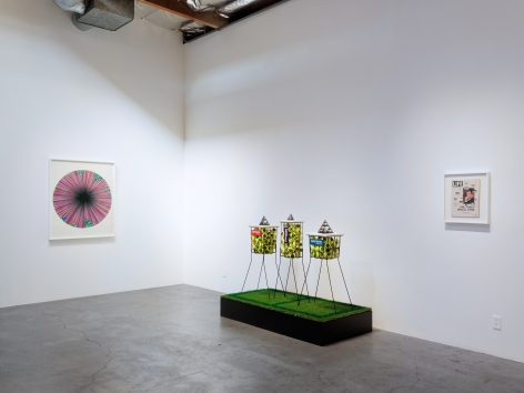 Installation view of DENNIS KOCH: Beyond the Funny Farm! Crypto-K, Cutouts, Cut-ups, Copies, Mirrors, Membranes, and Temporal Algorithms