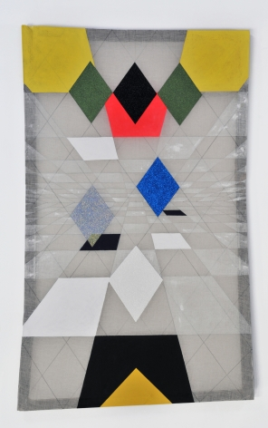 Matt Carter Uncanny Valley, 2014 Glitter, acrylic, graphite, linen and wood.  33.5i x 54 in.