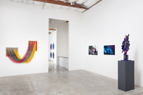 Installation view:  Liz Collins (L), Zachary Drucker and Rhys Ernst (C), Erik Olson (R)