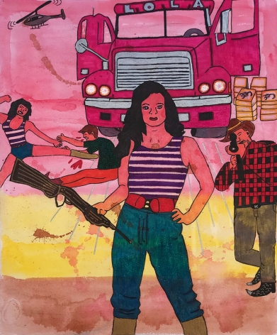 Lola La Trailera (Lola the Truck Driver), 2021, Watercolor and ink on paper