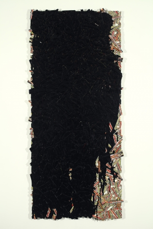 Margie Livingston Black Pour on Waferboard, 2013 Acrylic paint on Alupanel 63 x 33 x 1.5 in.