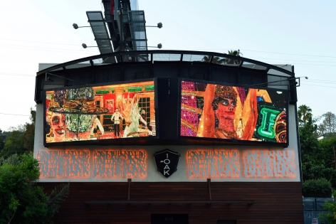 Installation view of Federico Solmi's billboard project of The Great Farce