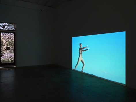 Installation view of Antonia Wright's Be video