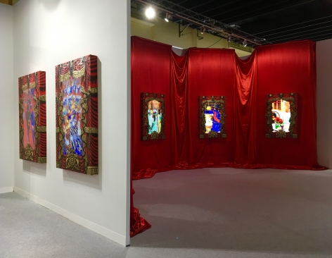 """Installation View of """"The Ballroom,"""" by Federico Solmi in Booth A3at VOLTA New York 2017."""
