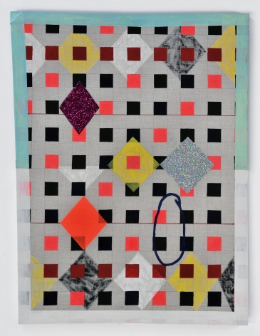 Matt Carter Checkered Joey, 2014 Glitter, acrylic, magic marker, graphite, linen and wood 26.5 x 34.5 in.