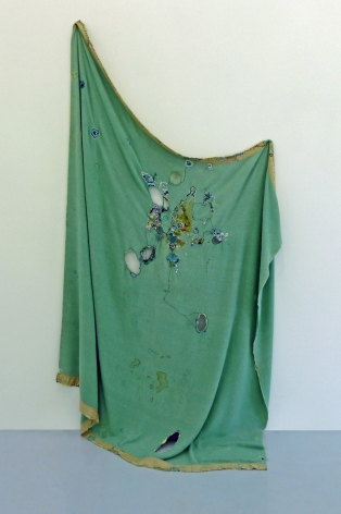 Nava Lubelski All Better Never Done, 2009 Thread on stained blanket 75 x 72 in.