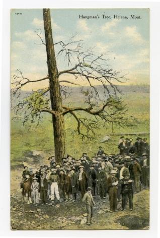 Ken Gonzalez-Day Hangman's Tree, Lynching of Arthur L. Compton & Joseph Wilson, Helena, MT, 1870 Erased Lnychings Set III, 2006-2019 Archival injet print on rag paper mounted on cardstock 6 x 4.5 in.