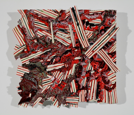 Margie Livingston Red Pour on Waferboard, Small, 2013 Acrylic paint, Alupanel 13 x 13 x 1.5 in