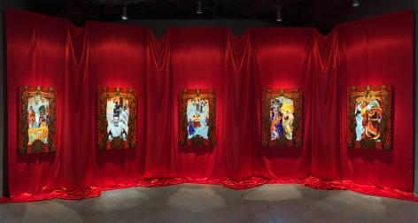 "Federico Solmi, ""The Ballroom,"" 2016, Installation of 5 animated video-paintings in handmade artist frames, 14 x 32 feet"