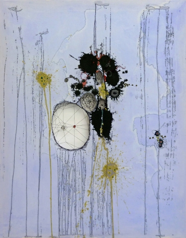 Nava Lubelski Ounce of Cure, 2010 Thread on stained canvas 48 x 36 in.