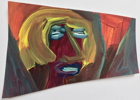 Edie Beaucage DanDan, 2016 Acrylic on paper mounted on wood 7 x 5 in.
