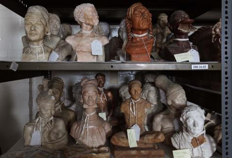 Ken Gonzales-Day Untitled (Malvina Hoffman Collection, [top:left to right] Mayan Man [336921]; South African Bushwoman [336951]; Asparoke Indian Man [336935]; Ubangi Woman [336943]; [bottom: left to right] Sudan Woman [336938]; Padaung Woman [336925]; Tibetan Merchant [336941A]; Zulu Woman [336945]; Lapp Man [336917], The Field Museum, Chicago, IL), 2009-2012 LightJet print on aluminum 20 x 28 in.