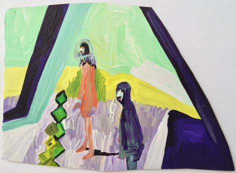 Edie Beaucage Eos & Alderamin, 2016  Acrylic on paper mounted on wood 12 x 8.25 in.