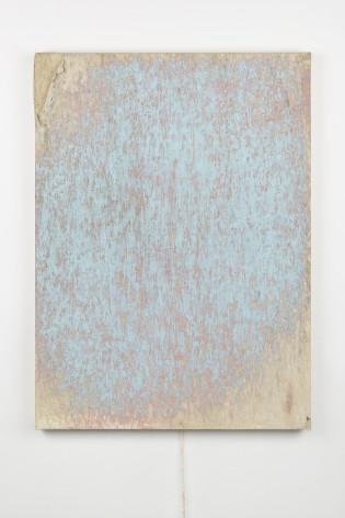 Margie Livingston PAINTINGS: Dragged Blue Painting with Orange Under, 2016 Oil and dirt on canvas with rope 30 x 22 x 1.5 in.