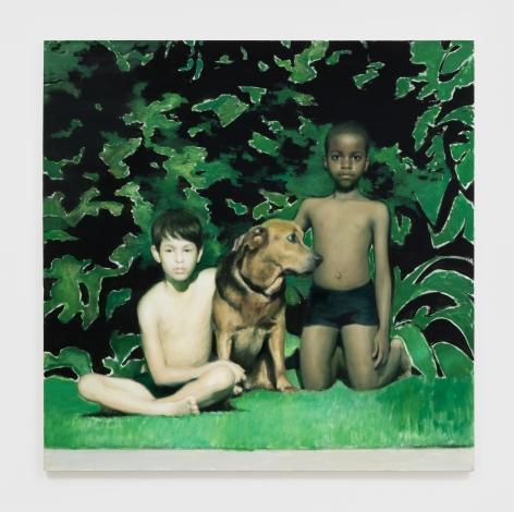 Jonathan Wateridge Boys, 2017 Oil on linen 65 x 65 in 165 x 165 cm (JWA21.057)
