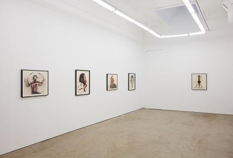 """Installation View of """"Hörner"""", """"Ausflüße, Ausgüße"""", """"A..."""", """"Ohne Titel"""" and """"Self portrait"""""""