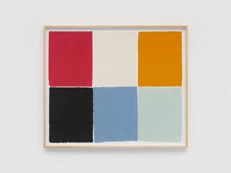Ethan Cook Red, white, yellow, black, blue, light blue, 2021 Handmade pigmented paper 30 x 36 inches 76.2 x 91.4 cms (ECO21.016)