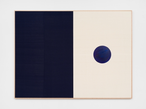 Ethan Cook, Ice, 2020. Hand woven cotton and linen, acrylic on aluminum, framed 60 x 80 in, 152.4 x 203.2 cm (ECO20.035)