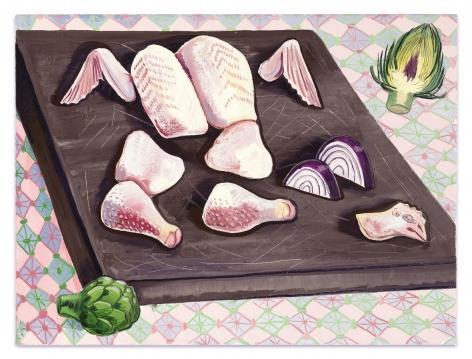 Nikki Maloof Chicken Parts, 2021 Oil on linen 18 x 24 in 45.7 x 61 cm (NMA21.010)