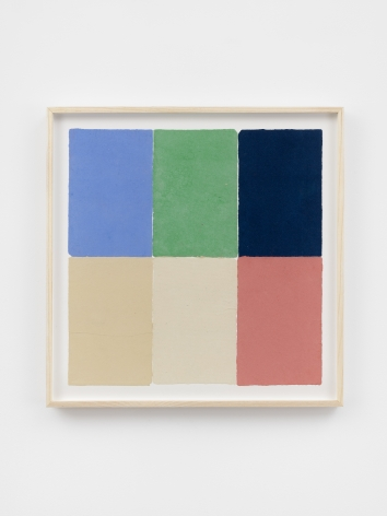 Ethan Cook, Two alabasters, parrot green, blue, pink, periwinkle, 2020. Handmade pigmented paper 19 3/4 x 19 1/2 in, 50.2 x 49.5 cm (ECO20.021)